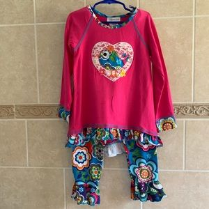 Bonnie Jean 2 pc set hot pink bird